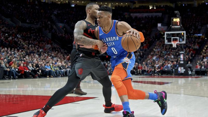Westbrook anota 37 en victoria 129-121 ante Trail Blazers